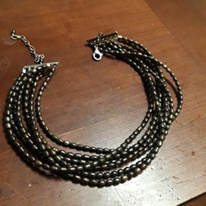 7 strand pearl & sterling necklace